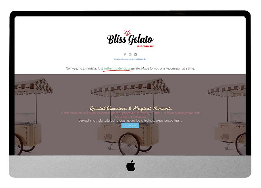 Truffles and Gelato BEFORE Website Makeover