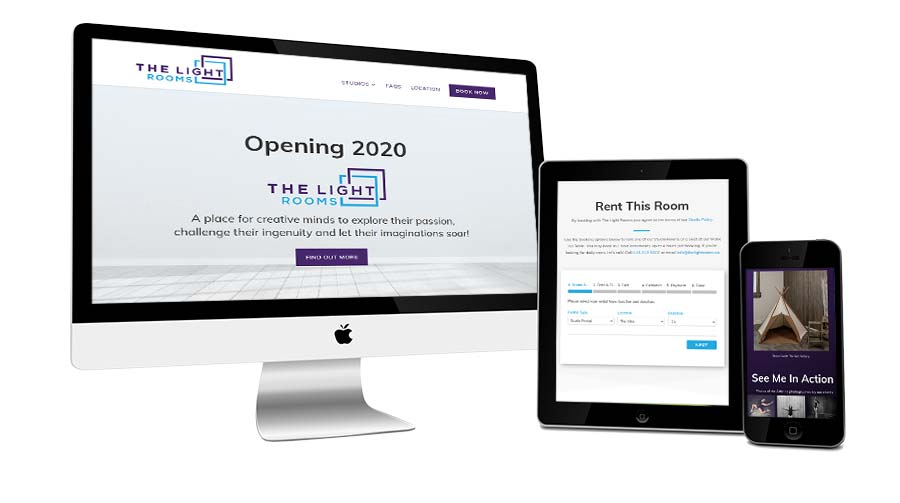 The Light Rooms website shown on three devices