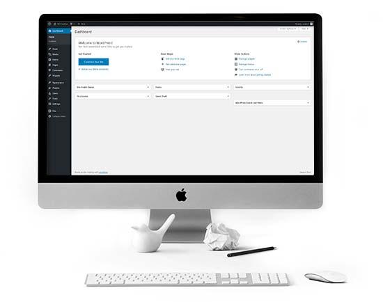 Mac Computer showing WordPress Dashboard