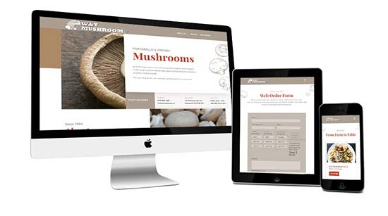 W&T Mushroom website shown on three devices